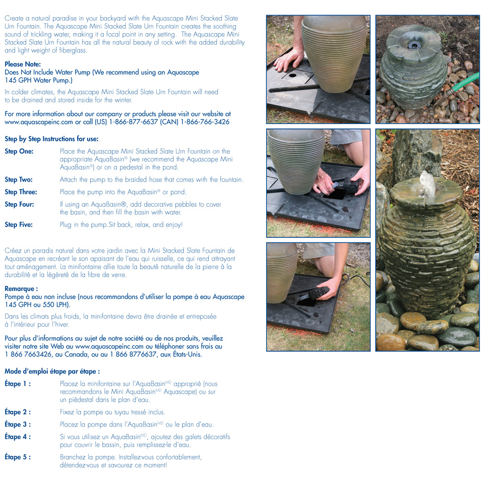 mini stacked slate urn fountain aquascape inc