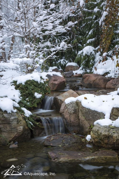 Pond and Waterfalls in Snow