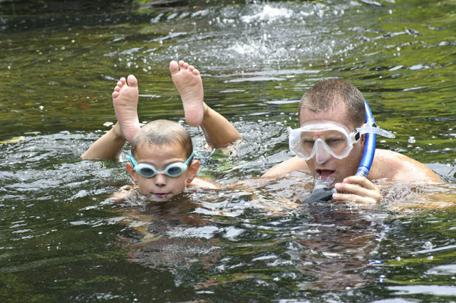 The whole family can snorkel in the backyard pond!