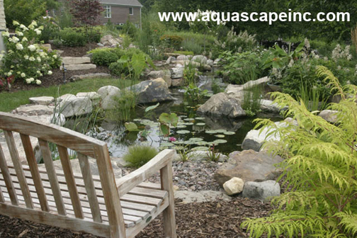 Aquascape Backyard Pond with Bench