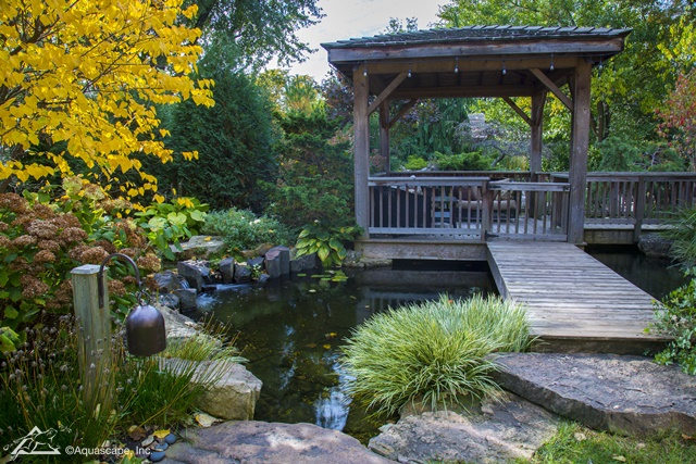 Fall Pond with Pergola and Bridge