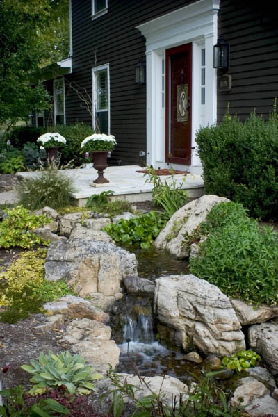 Waterfall by Front Door Creates Curb Appeal