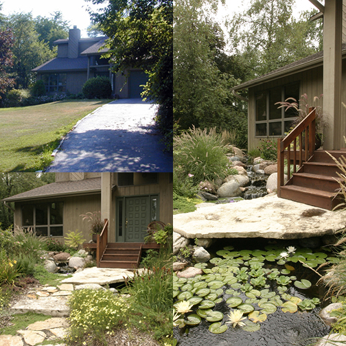 A water feature can completely transform your landscape. This lucky homeowner added a stone bridge to the front door.