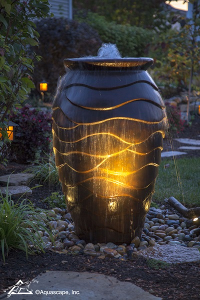 Scalloped Fountain Urn with Night Lighting