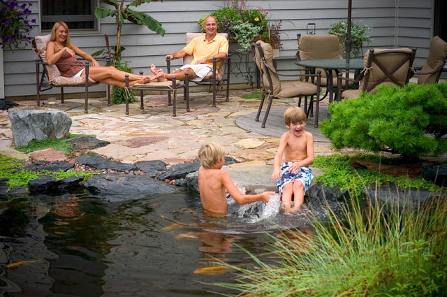 Water gardens pull kids outside, away from the TV and video games.
