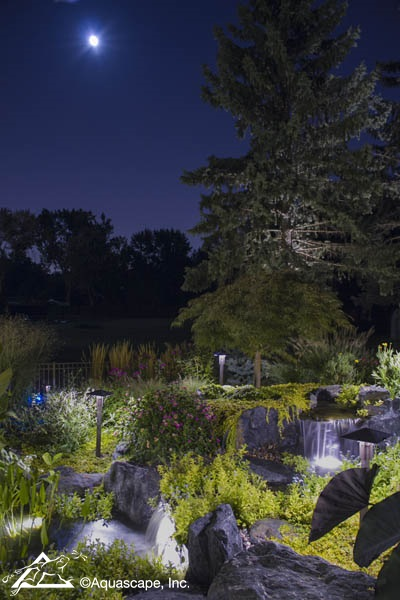 Waterfall at Night with LED Lighting