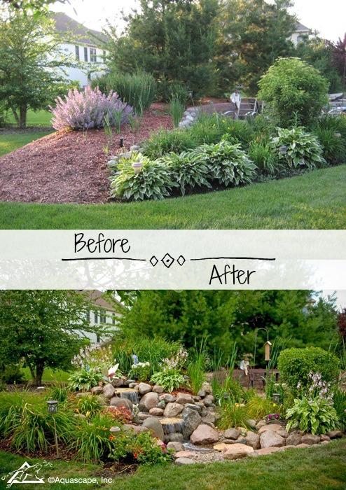 Backyard Transformation with Small Waterfall