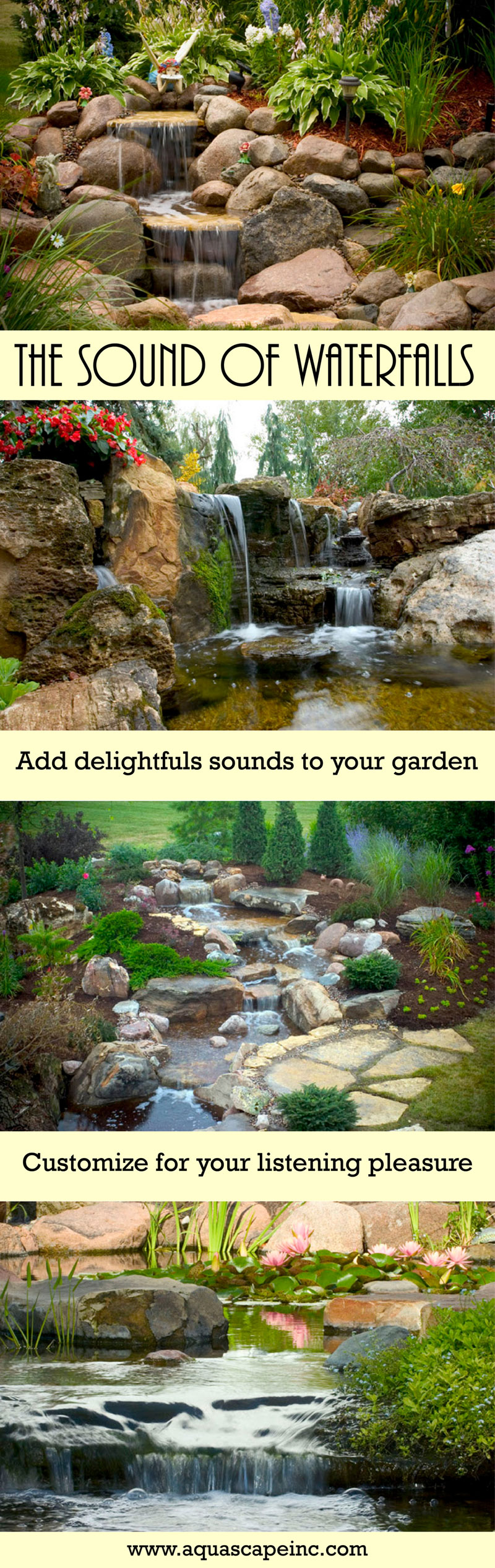 the sound of waterfalls aquascape inc