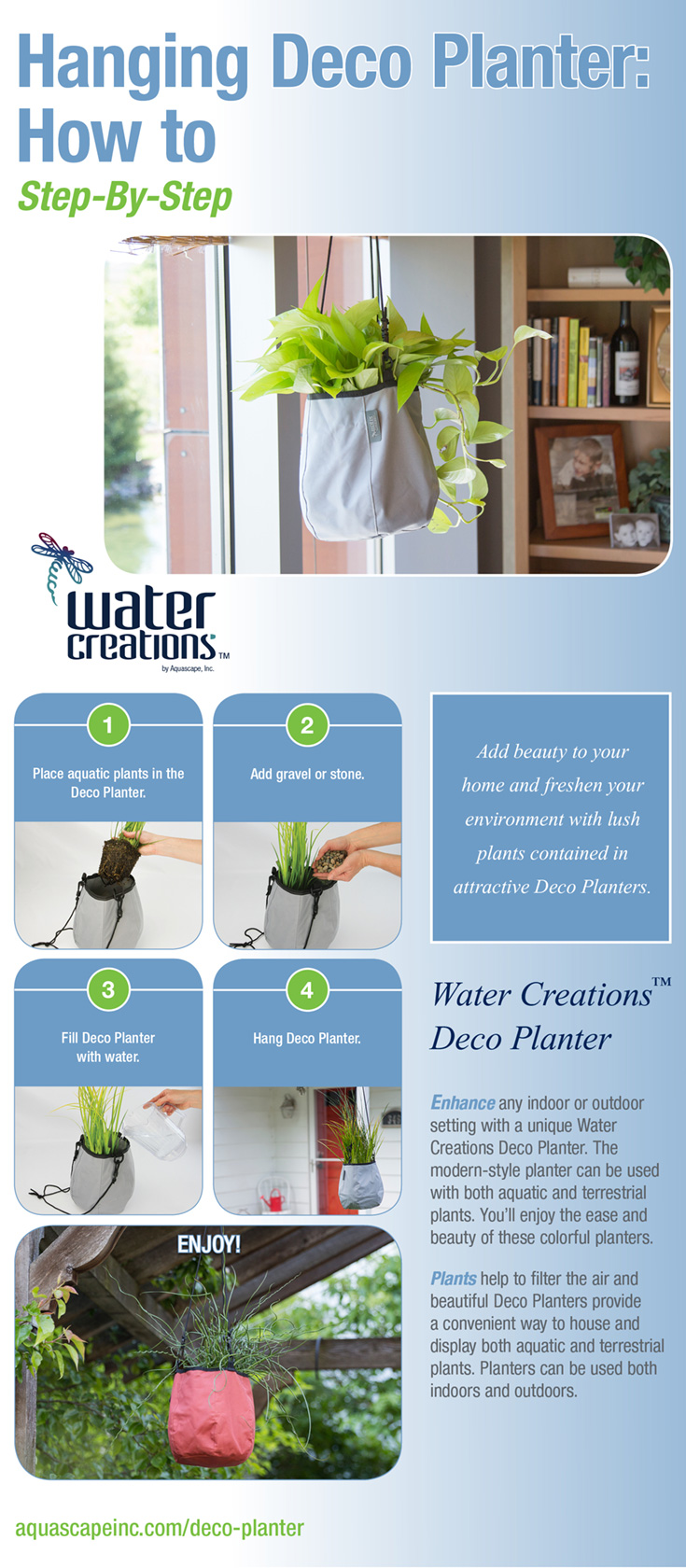 Water Creations Hanging Deco Planter INFOGRAPHIC