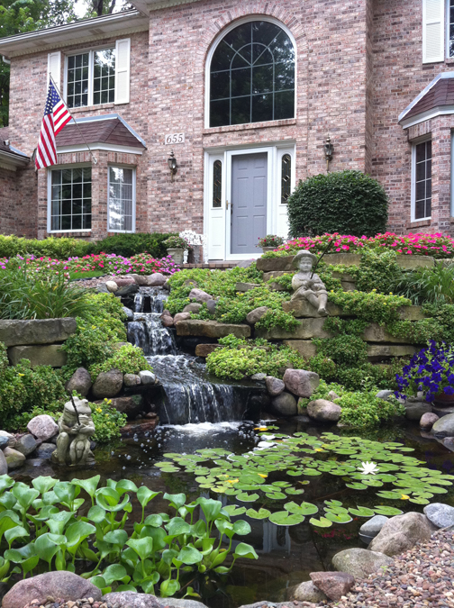 Front yard waterfall to improve curb appeal