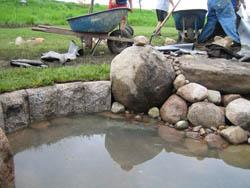 Granite Edging in Pond