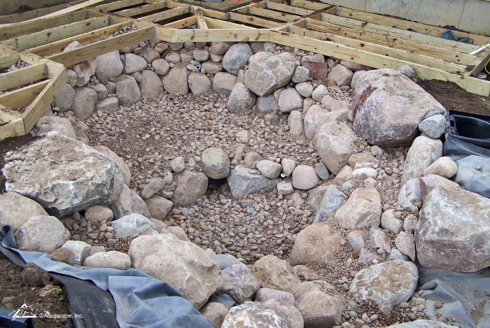Excavated and rocked pond
