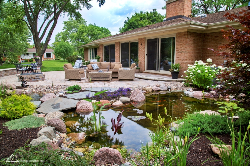 Patio with Pond for Outdoor Living Spaces