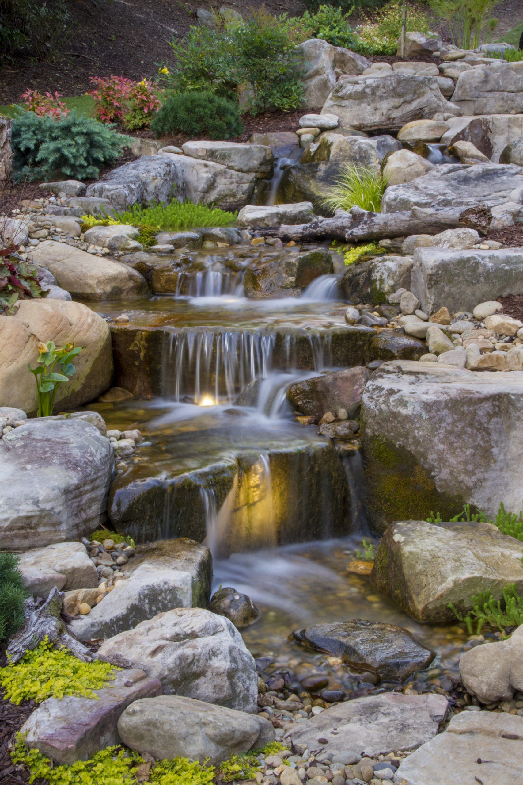 Using Rock to Create Natural Waterfall