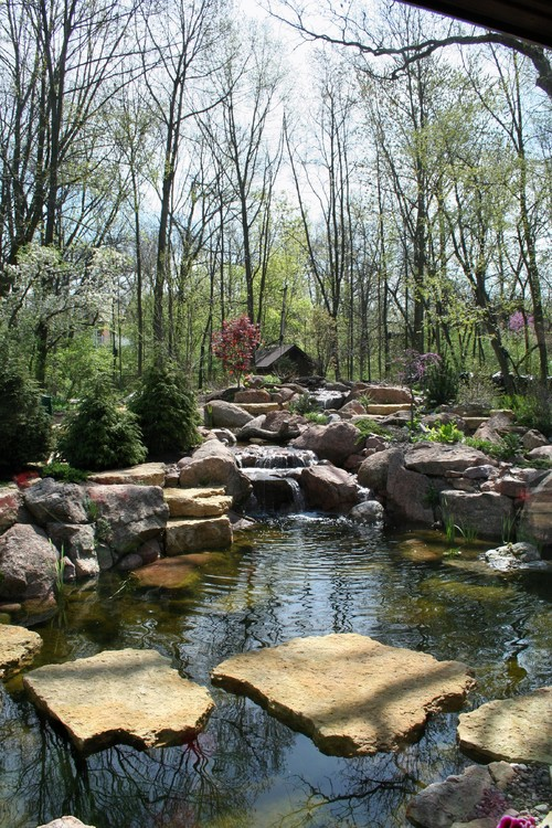 Pond stepping stones by Chicago Landscape Contractor, Ponds Inc. of Illinois